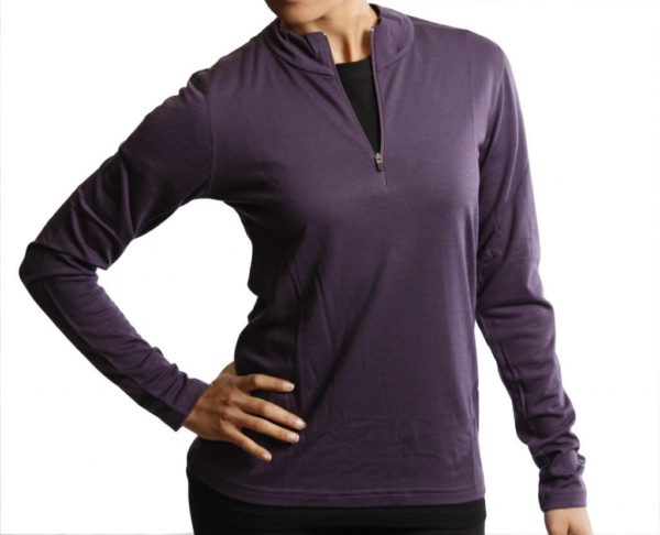 Long Sleeve Zip Neck T-Shirt Women - Core Merino Wool - Colour Purple Blackberry - Fit