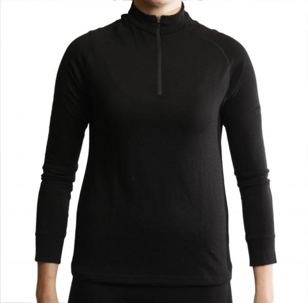Long Sleeve Raglan Zip Neck T-Shirt Women - Core Merino - Colour Black - Fit