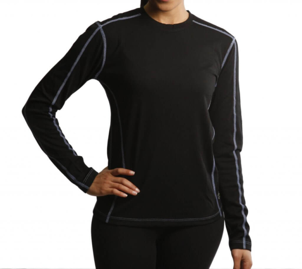 Long Sleeve Crew Panelled T-Shirt Women - Core Merino Wool - Colour Black- Fit