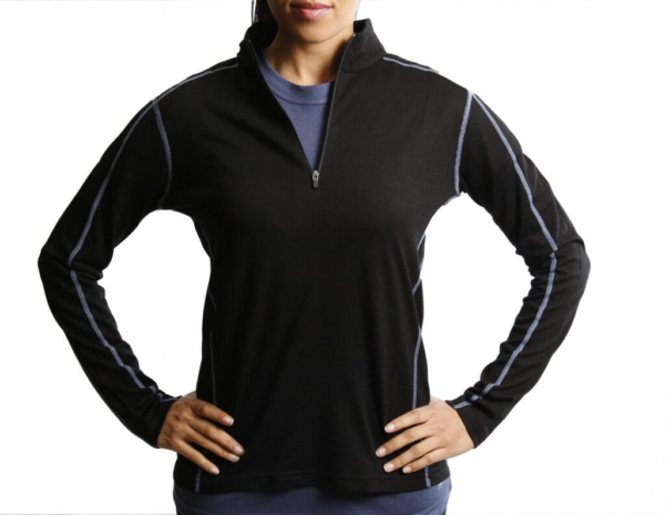Long Sleeve Zip Neck Panelled T-Shirt Women - Core Merino - Colour black - FIt