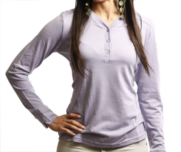 Long Sleeve Button Front T-Shirt - Core Merino Wool - Colour Lilac - Fit