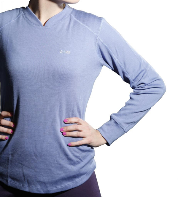 Long Sleeve Raglan Crew T-Shirt - Core Merino Wool - Colour Lilac - Fit