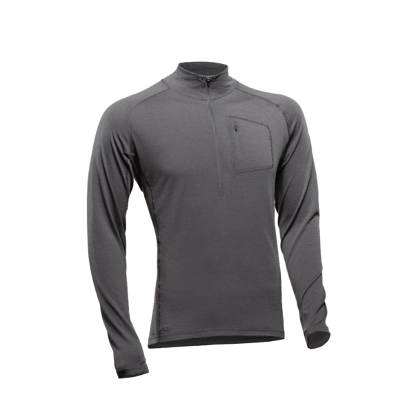 1/2 Zip Long Sleeve Shirt - Core Merino Wool - Colour grey