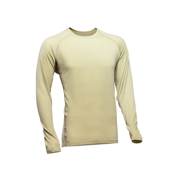 Long Sleeve Crew T-Shirt Men - Core Merino - Colour Grey Green