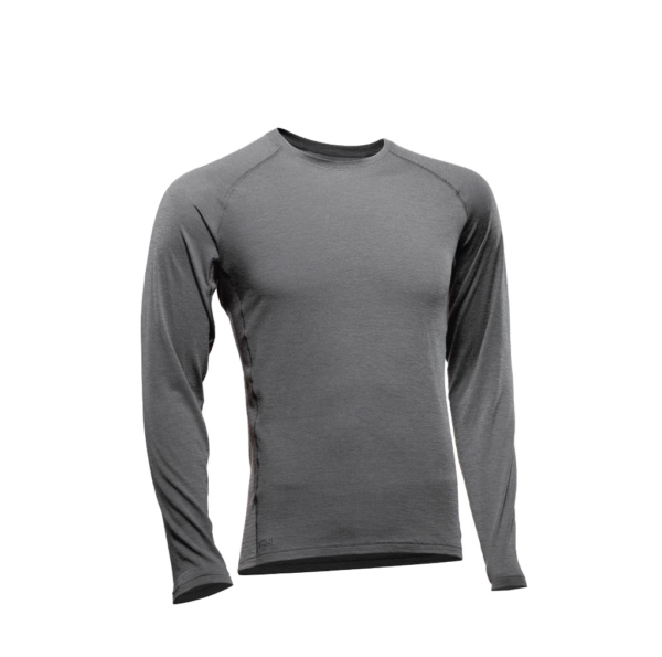 Long Sleeve Crew T-Shirt Men - Core Merino - Colour Grey