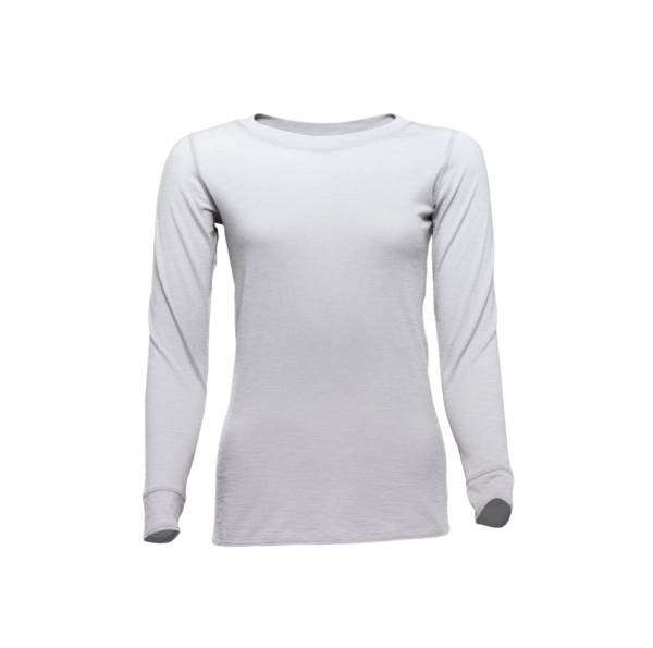 Long Sleeve Crew T-Shirt - Core Merino Wool - Colour Light Grey