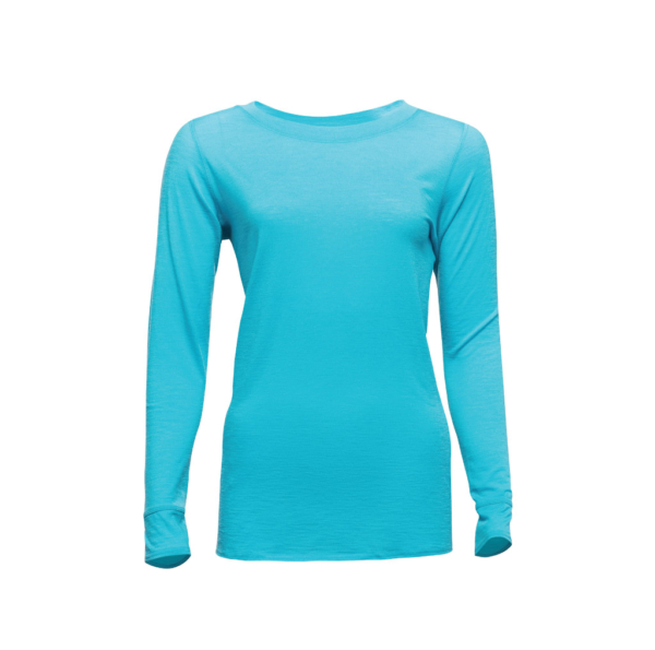 Long Sleeve Crew T-Shirt - Core Merino Wool - Colour Turquoise