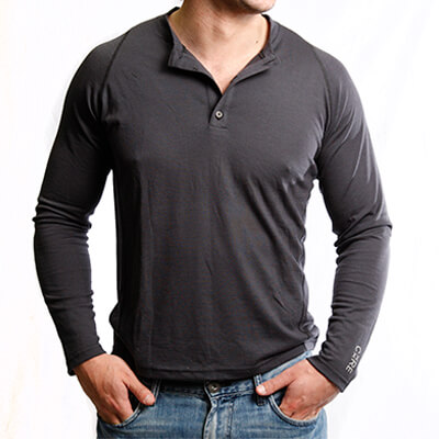 T-Shirt Long Sleeve Henley for Men - Core Merino