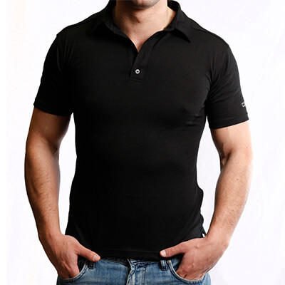 Polo Shirt Men - Core Merino Wool - Colour Black - Fit