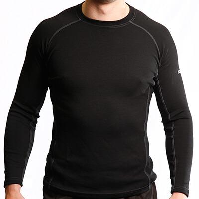 Long Sleeves Raglan Crew Neck Panelled T-Shirt Men - Core Merino Wool - Colour Black - Fit