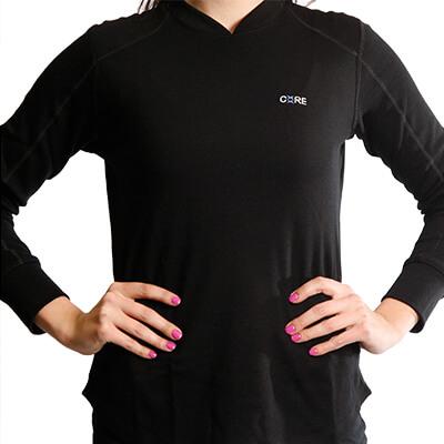 Long Sleeve Raglan Crew T-Shirt - Core Merino Wool - Colour Black - Fit