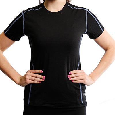 Short Sleeve Crew T-Shirt Panelled - Core Merino Wool - Colour black - Fit