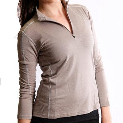 Long Sleeve Zip Neck Panelled T-Shirt Women - Core Merino - Colour beige - FIt